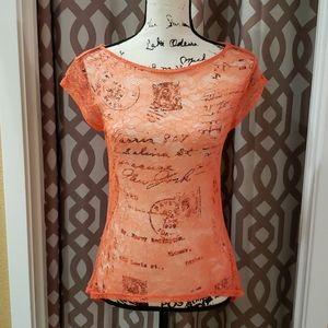NWOT Moda International Lace Sheer Top
